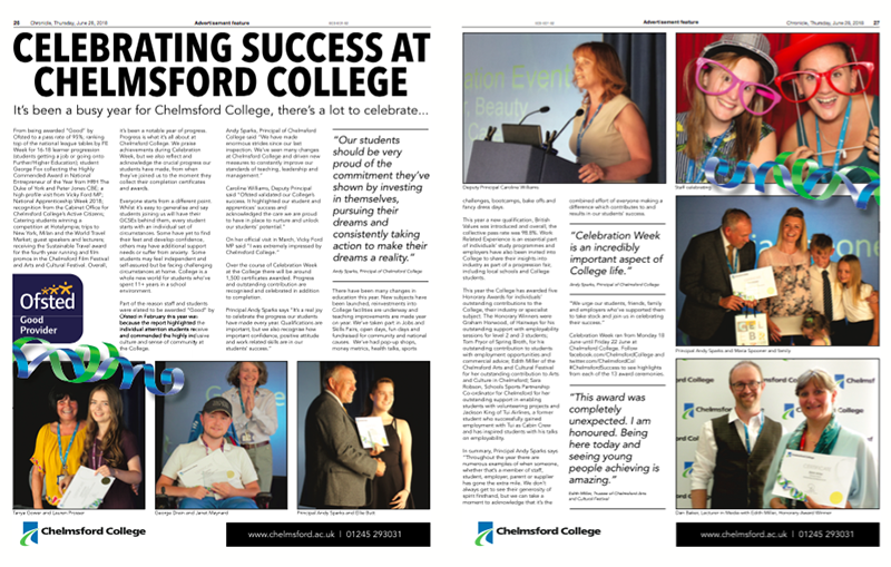 Celebrating Success at Chelmsford College in 2018
