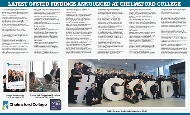 Latest OFSTED findings announced at Chelmsford College